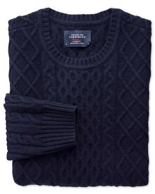 Navy lambswool cable crew neck sweater