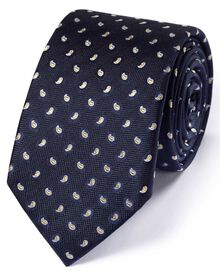 Slim navy silk classic mini paisley  tie