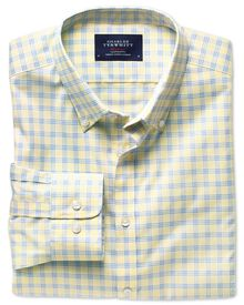 Extra slim fit yellow and sky check non-iron poplin shirt
