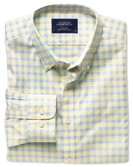 Extra slim fit non-iron poplin yellow and sky blue check shirt
