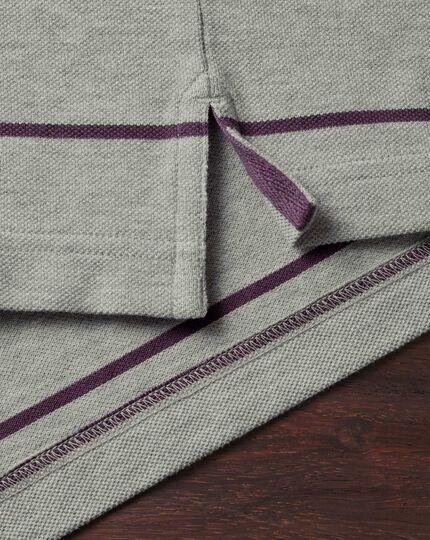 Grey and purple stripe pique long sleeve polo