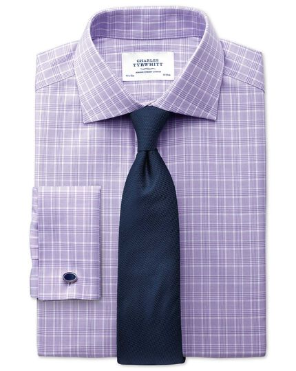 Classic fit Prince of Wales lilac shirt