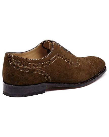 Brown suede Parker toe cap brogue Oxford shoes