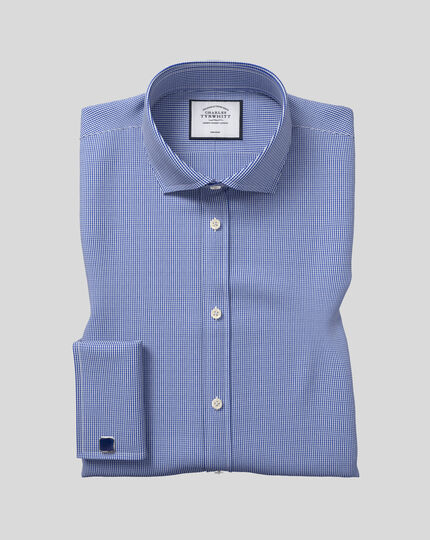 Slim fit cutaway non-iron puppytooth royal blue shirt