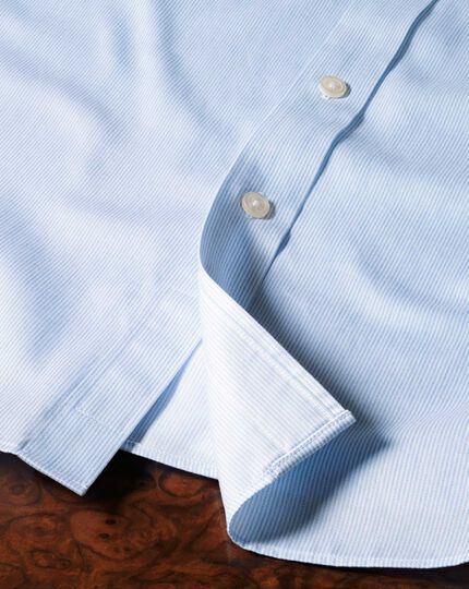 Extra slim fit cutaway collar non-iron mouline stripe sky blue shirt