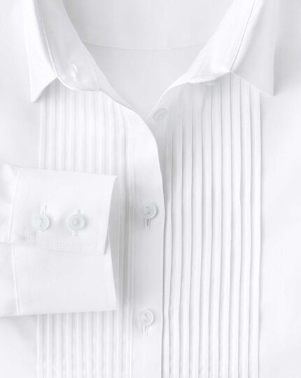 Women's semi-fitted cotton pintuck white shirt