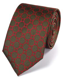 Olive silk circle link classic tie