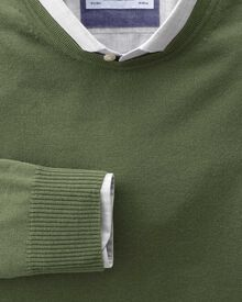 Olive merino wool crew neck jumper