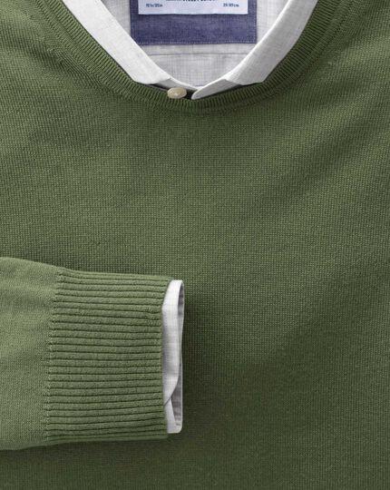 Olive merino wool crew neck sweater