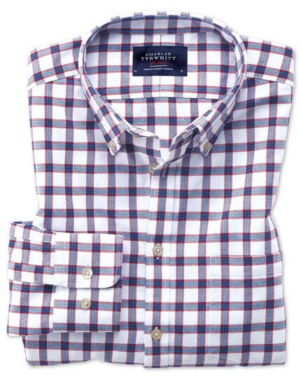 Slim fit button-down washed Oxford white and blue check shirt