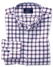 Extra slim fit button-down washed Oxford white and blue check shirt