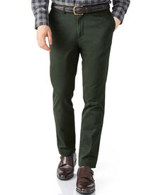 Dark green extra slim fit flat front chinos