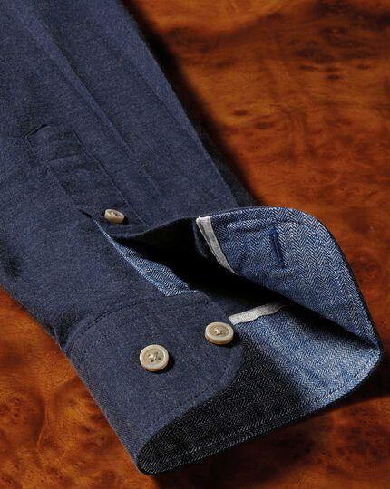 Slim fit popover navy blue shirt