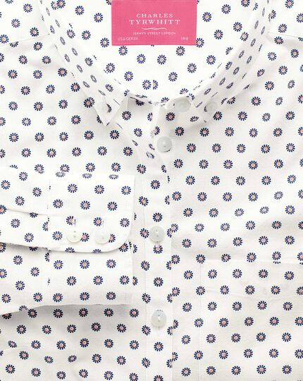 Women's semi-fitted blue and orange floral print Oxford shirt