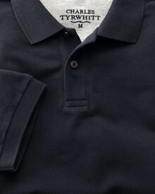 Classic fit navy pique polo shirt