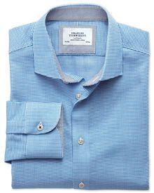 Slim fit semi-spread collar business casual textured blue shirt