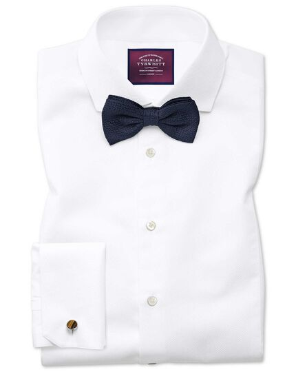 Extra slim fit spread collar non iron luxury white shirt for Extra slim tuxedo shirt