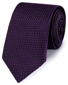 Dark purple silk plain grenadine Italian luxury tie