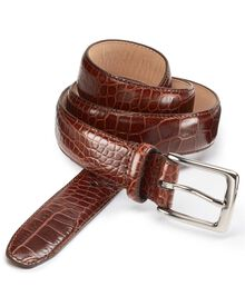 Brown leather embossed croc belt