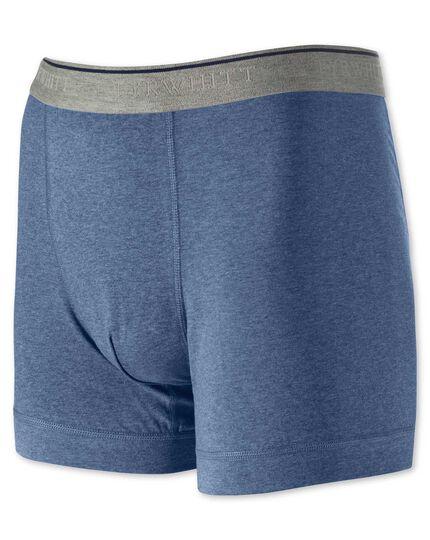 Blue cotton stretch jersey trunks