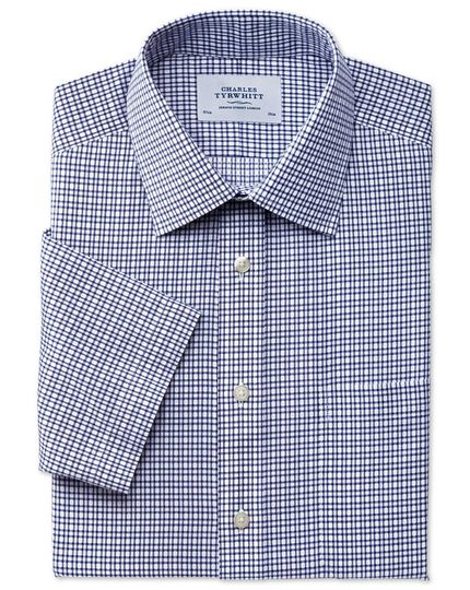 Slim fit non-iron short sleeve dobby check navy shirt