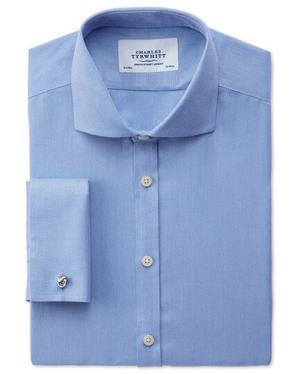 Extra slim fit spread collar non-iron mini herringbone blue shirt