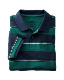 Slim fit navy and green striped pique polo