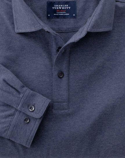 Classic fit indigo long sleeve polo