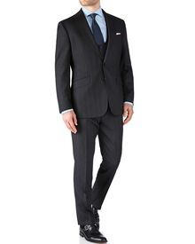 Charcoal slim fit herringbone business suit