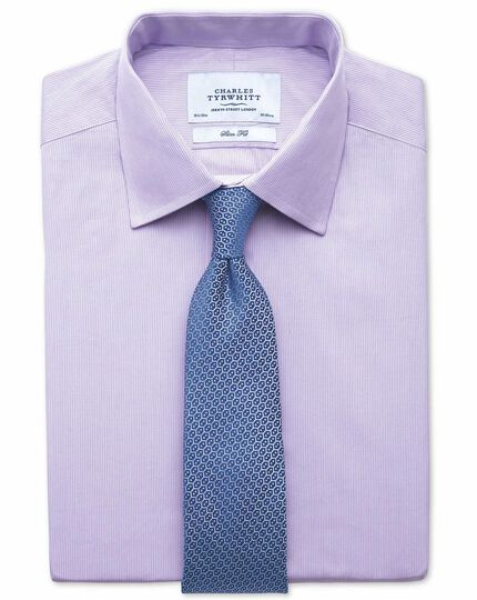 Classic fit non-iron fine stripe lilac shirt