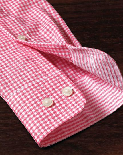 Classic fit non-iron Oxford gingham pink shirt