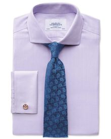 Slim fit spread collar non-iron herringbone lilac shirt