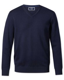 Navy merino wool v-neck jumper