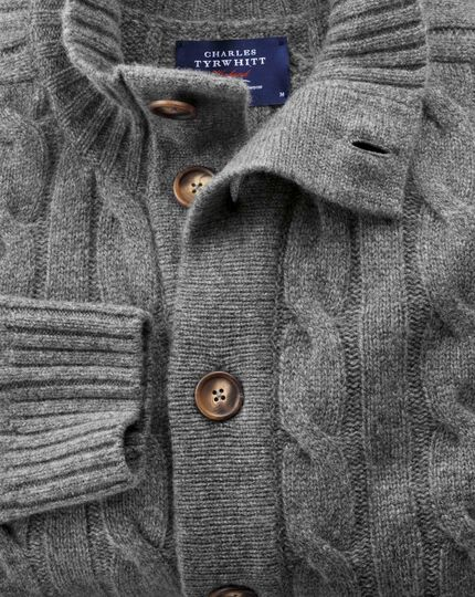 Grey lambswool cable knit cardigan