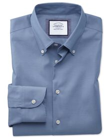 Slim fit button-down collar non-iron business casual mid blue shirt