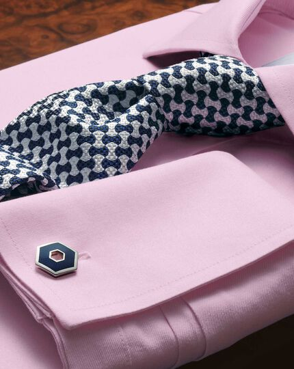 Slim fit cutaway collar non-iron twill pink shirt