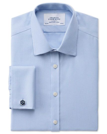 Extra slim fit non-iron Buckingham weave sky blue shirt