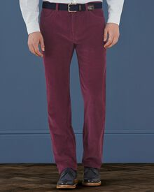 Wine classic fit fine cord 5 pocket stretch trousers