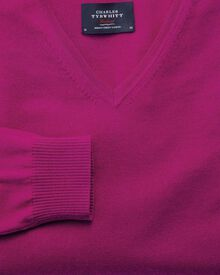 Fuchsia merino wool v-neck jumper