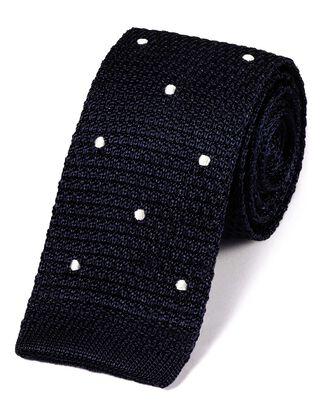 Cravate maille slim classique bleue marine à pois blancs en soie