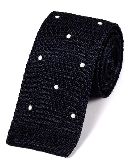 Navy blue and white silk spot slim knitted classic tie