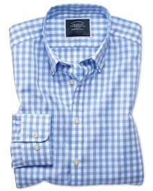 Extra slim fit sky check non-iron poplin shirt