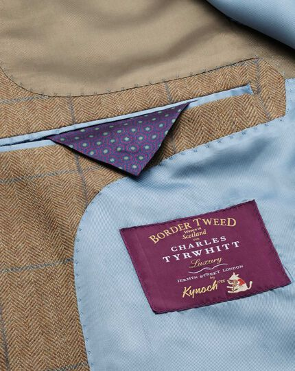 Slim fit tan check luxury border tweed jacket