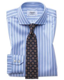 Extra slim fit cutaway non-iron Bengal wide stripe sky blue and white shirt