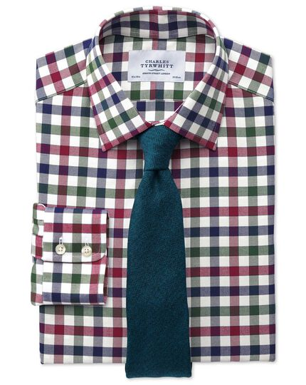 Extra slim fit country check navy and berry shirt