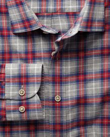 Red and grey check slim fit heather shirt