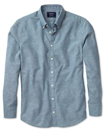 Extra slim fit petrol blue chambray shirt