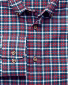Slim fit check red and blue shirt