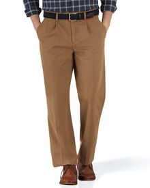 Camel classic fit single pleat chinos