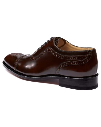 Burgundy Parker toe cap brogue Oxford shoes